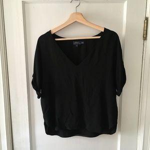 Ralph Lauren 100% SILK Black V-Neck Flowy Blouse